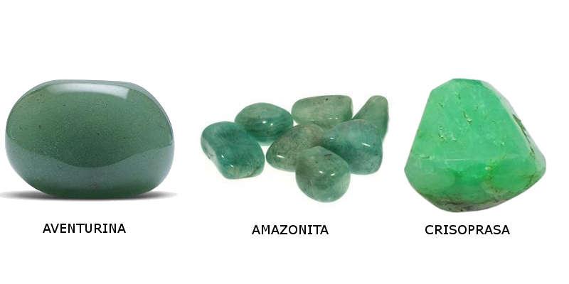 La aventurina, la amazonita y la crisoprasa son piedras verdes como el jade
